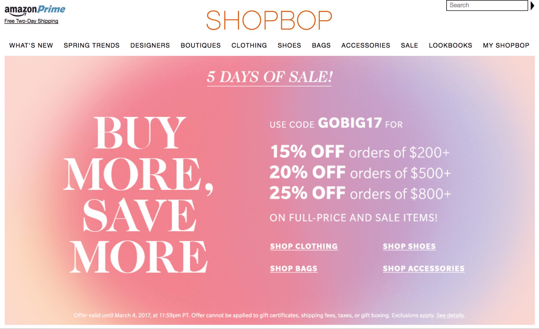 Early Spring Shopbop SALE