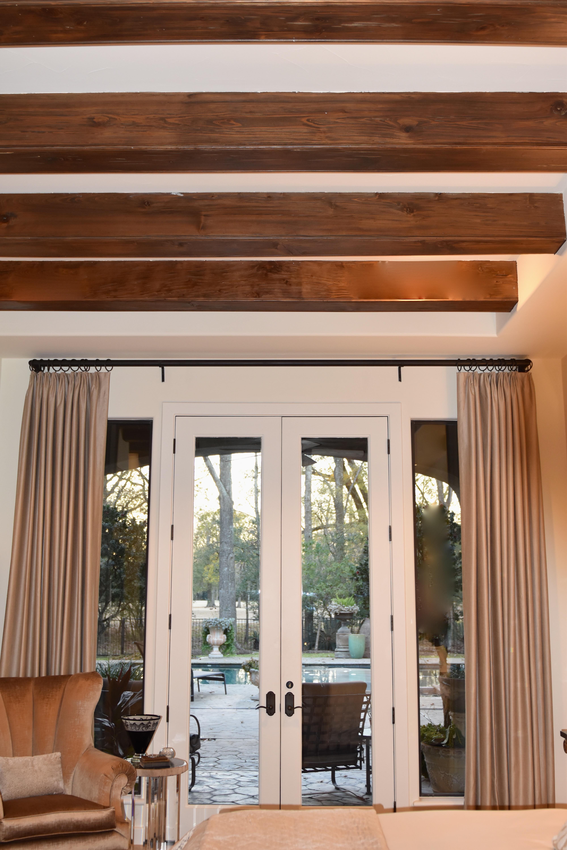 drapes, ceiling, wood beams, cypress beams