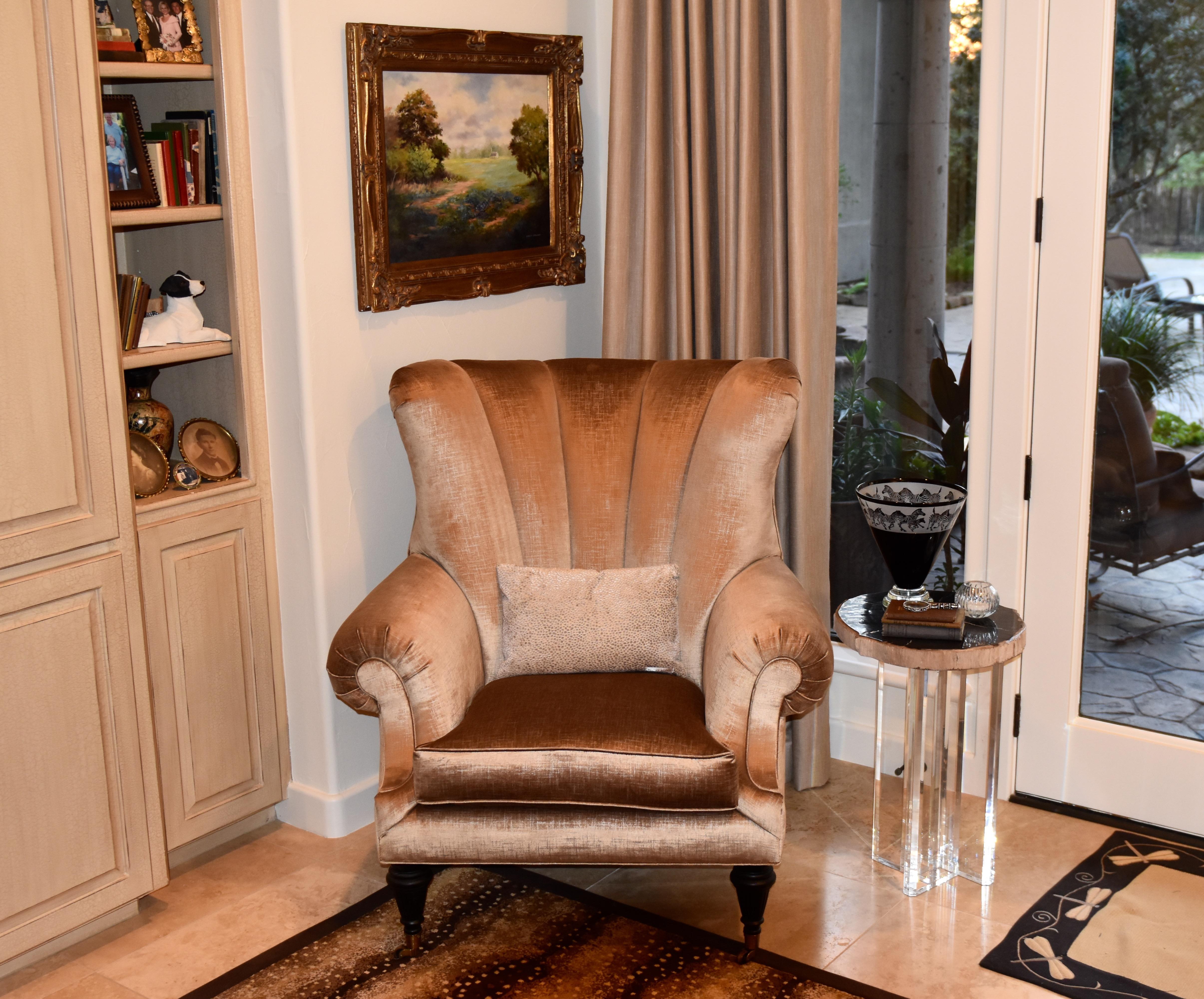art deco chair, acrylic side table, vintage art,