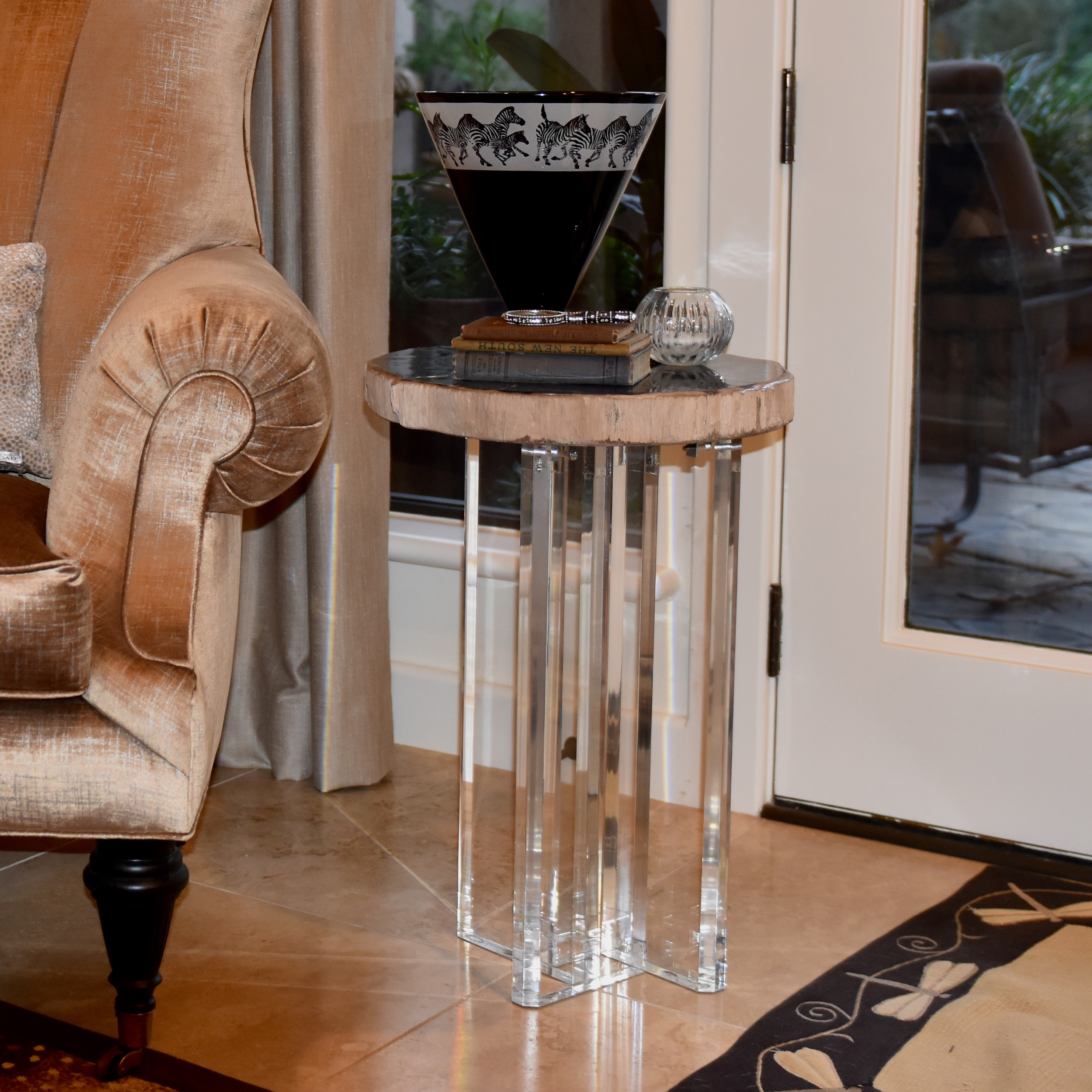 Acrylic and wood side table,