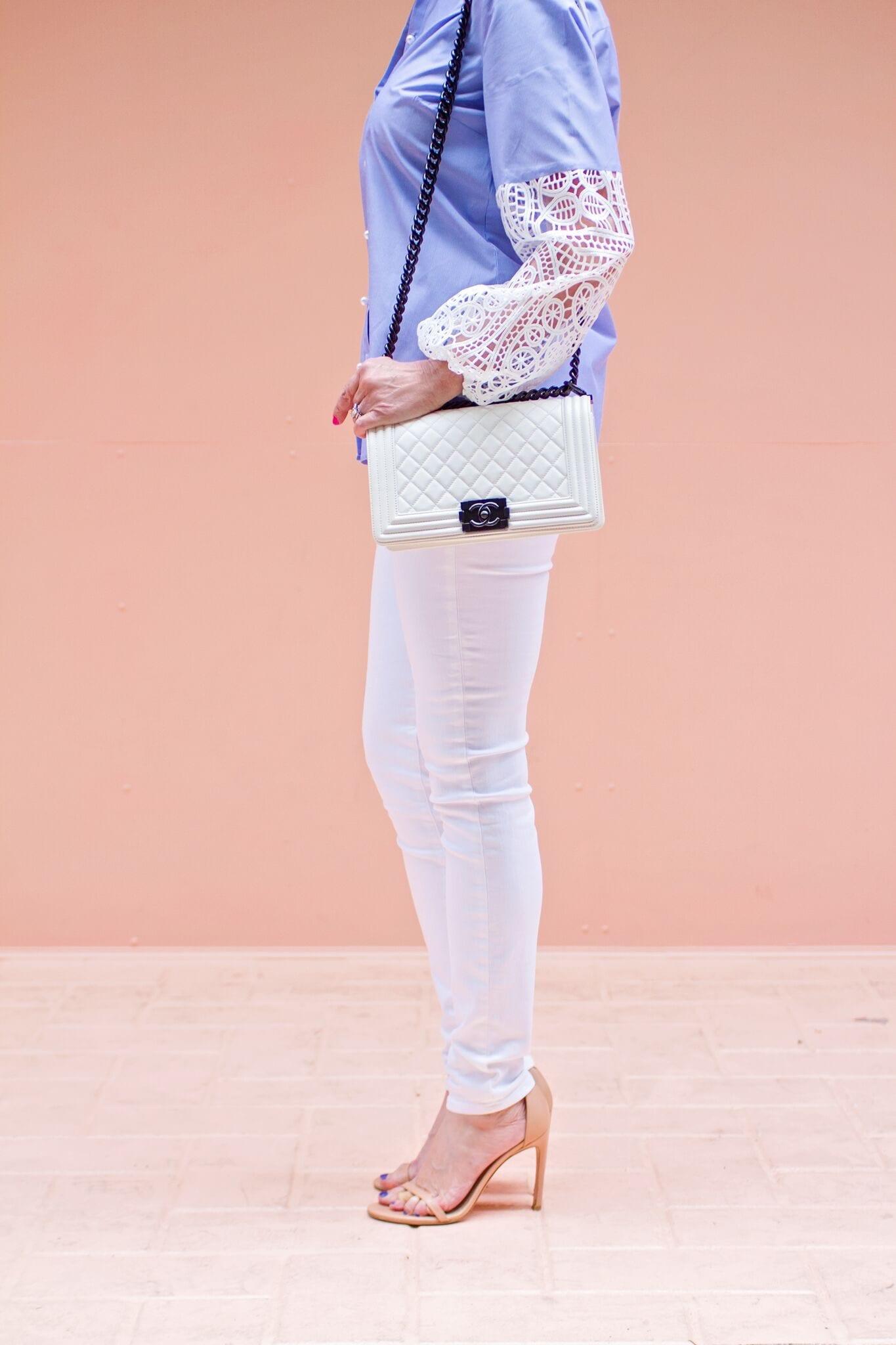classic shirts, button front shirt, lace sleeve, blue shirts, feminine shirts, pearl button shirts, white jeans, Chanel bag, Stuart Weitzman