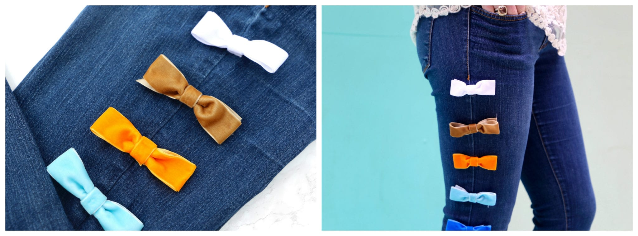 Steps to DIY velvet bow jeans, designer dupe, steal or splurge bow jeans, designer velvet bow jeans, redesign