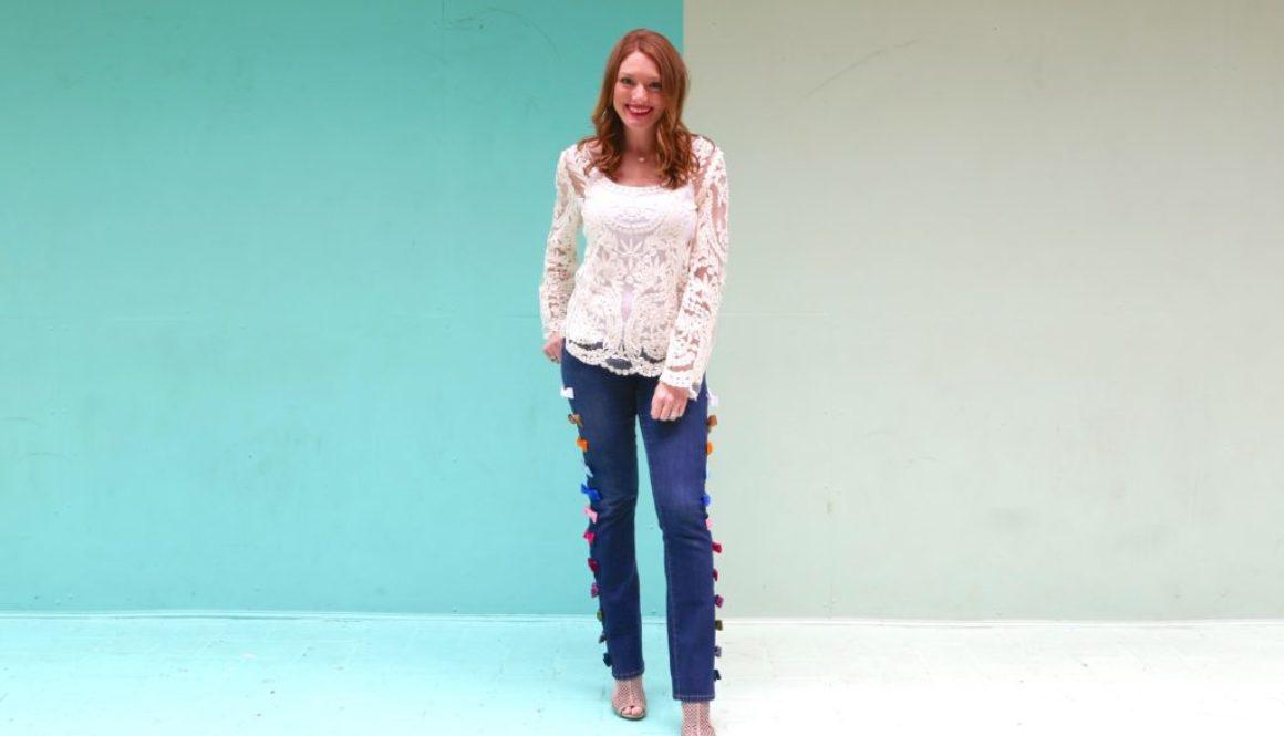 DIY, velvet bow jeans, designer dupe, steal or splurge bow jeans, designer velvet bow jeans, redesign