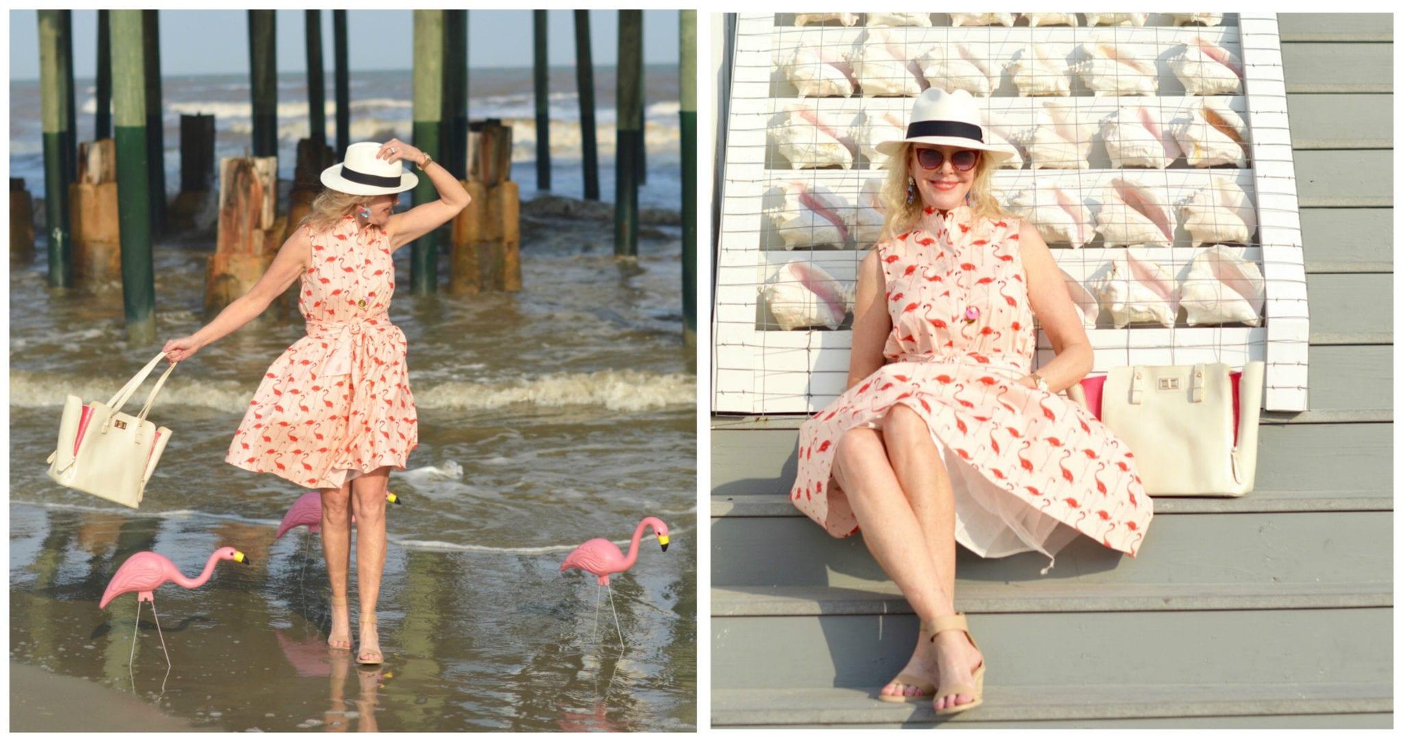Flamingo dress, panama hat