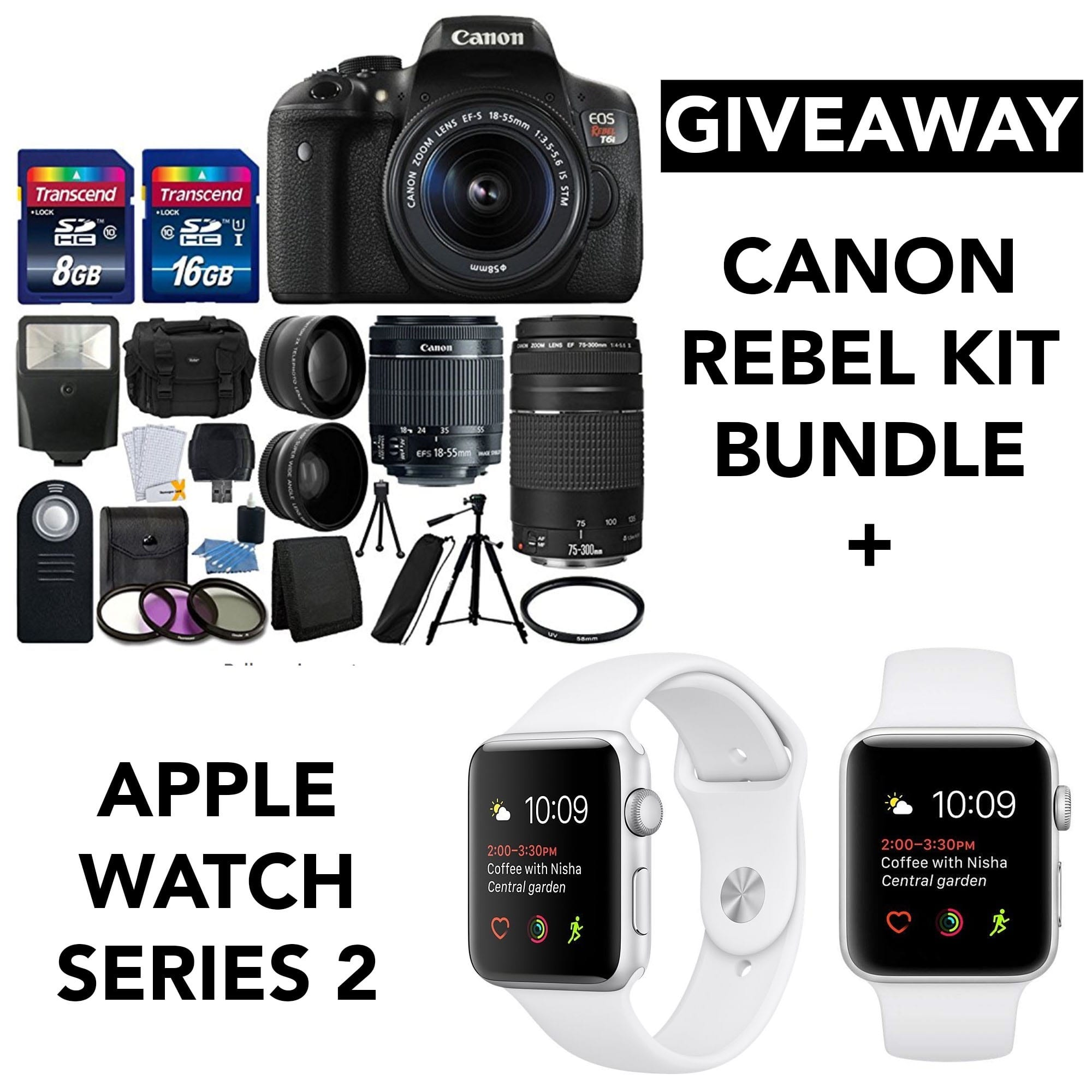giveaway, cannon rebel kit, apple watch series 2,