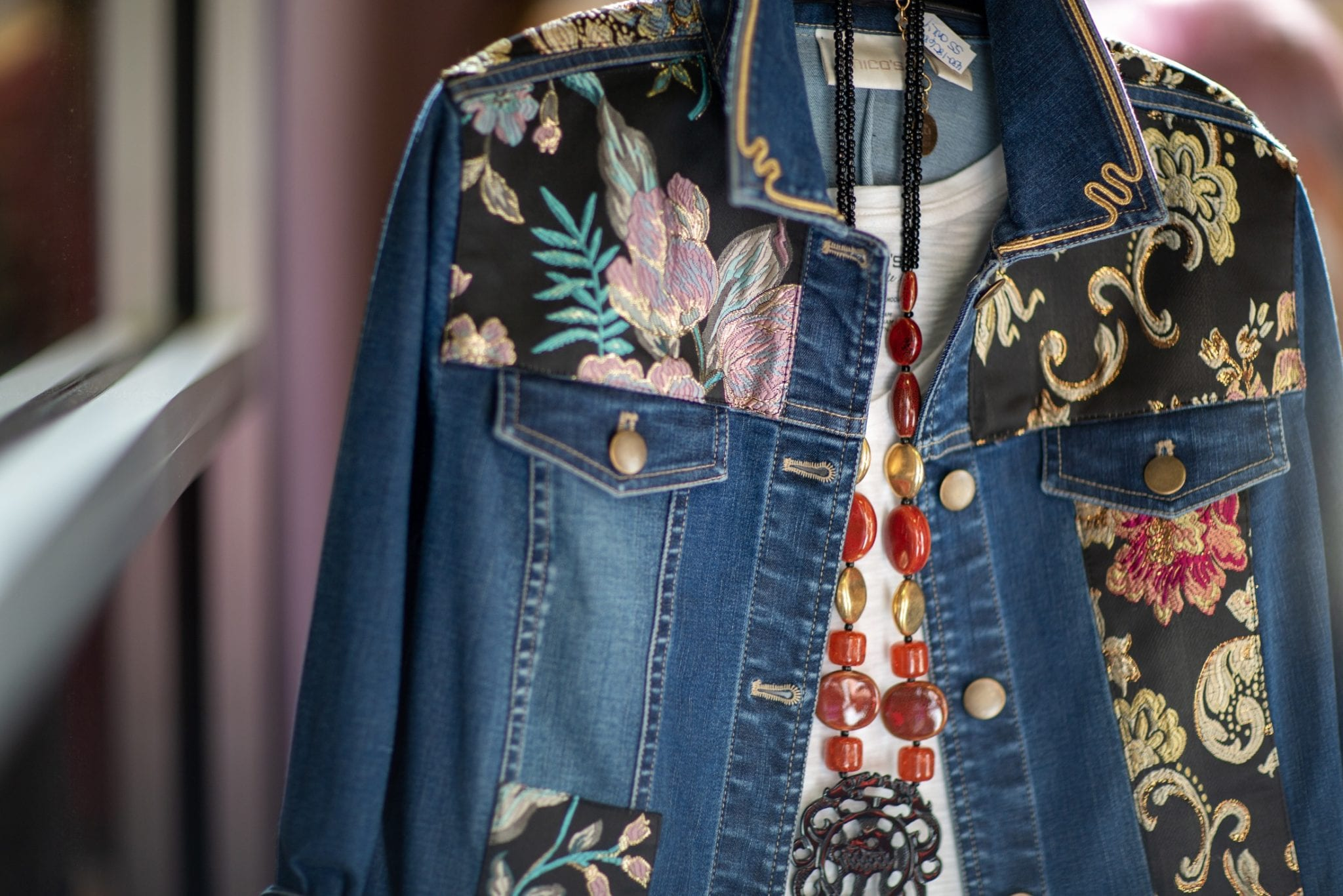 Denim jacket, embroidered jacket, Anniversary collection