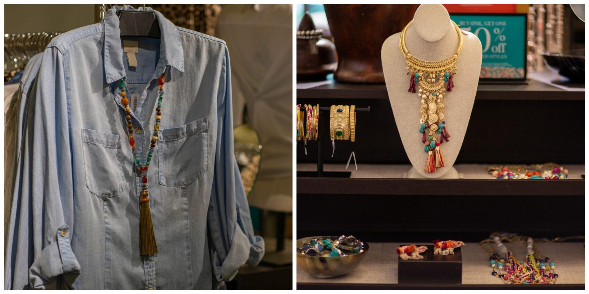 Chico's, denim shirt, Chico's jewelry