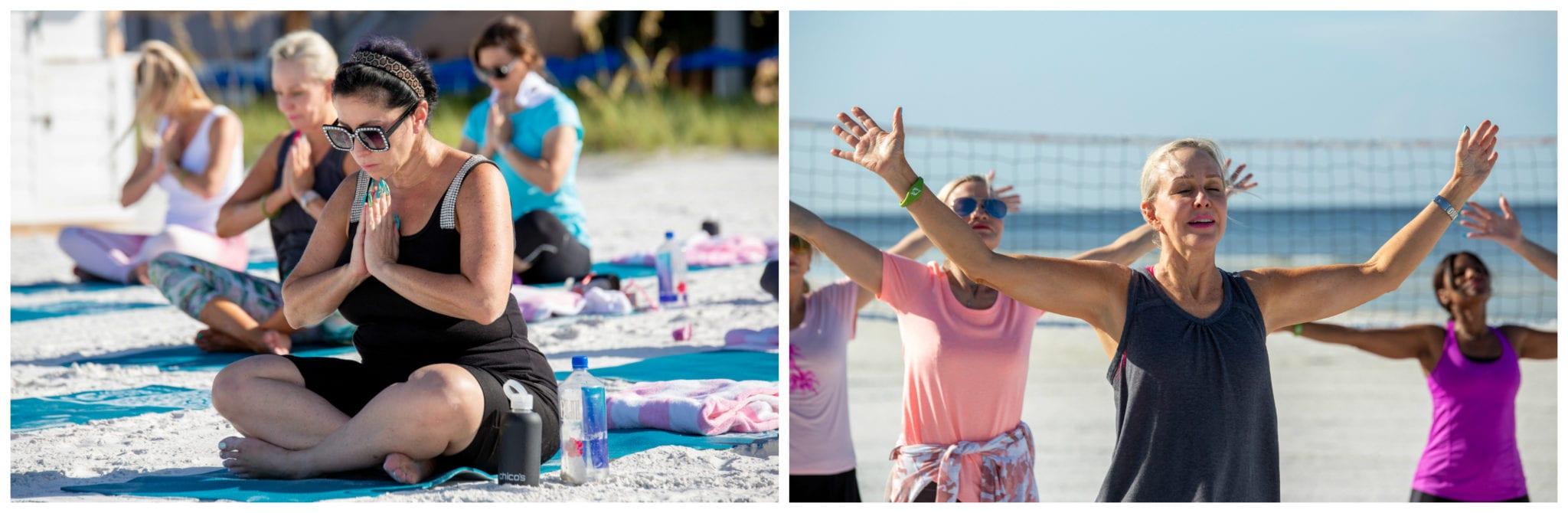 Chico's event, yoga, beach yoga, Pink Shell Resort, Sand,