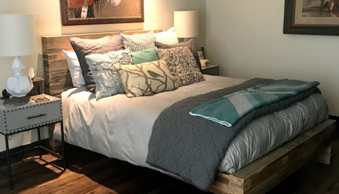 bedroom, guest bedroom, mountain modern bedroom, rustic modern bedroom, wood platform bed