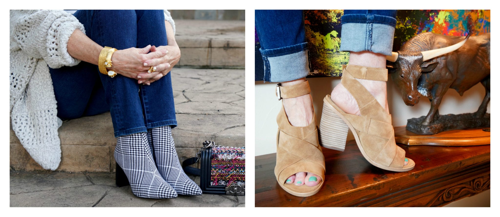 boots, booties, jumpsuit, metallic booties, plaid booties,