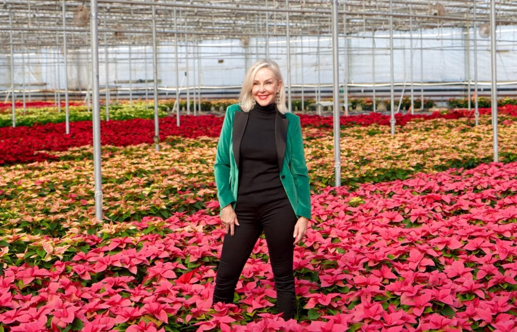 Hoiday style, velvet jackets, velvet, poinsettias, Popes Plant Farms, greenhouse, holiday fashion