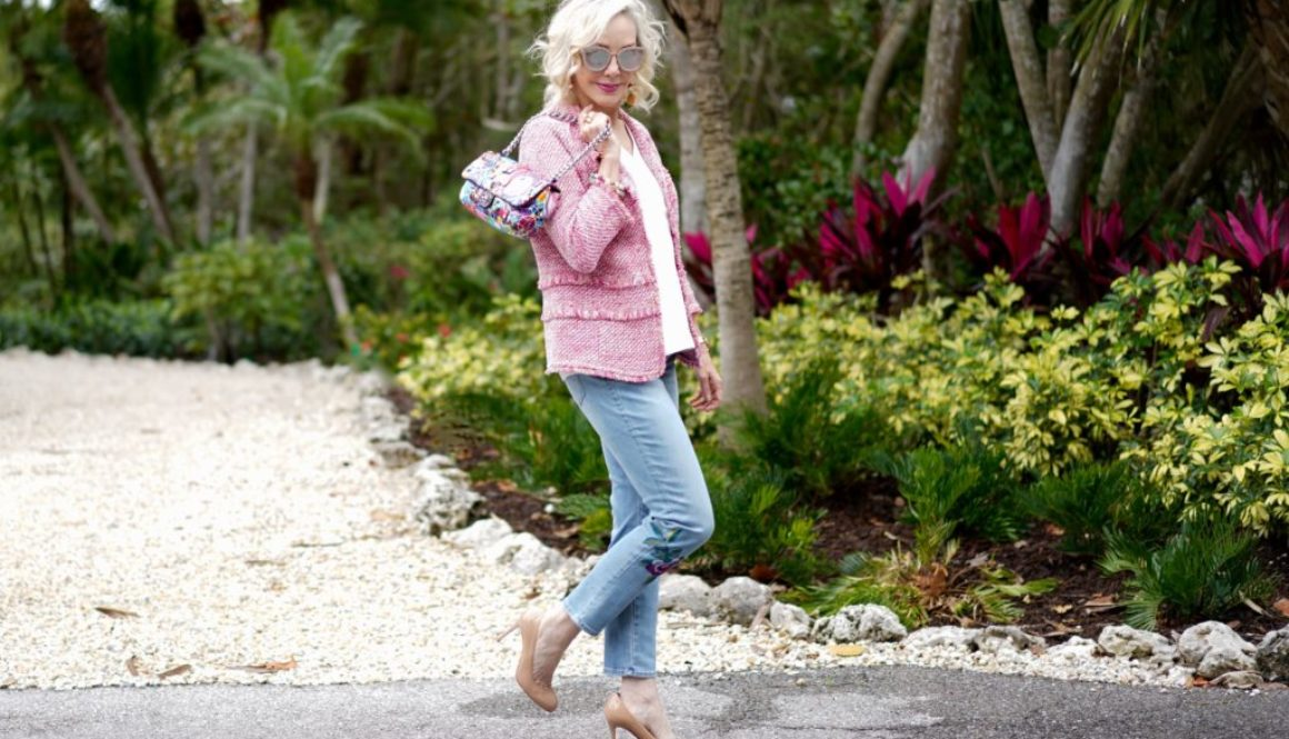 Chanel inspiration, tweed jacket, pink tweed jacket, embroidered floral jeans
