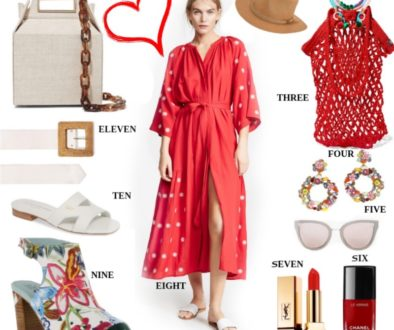 red, red dress, vacation style, resort looks