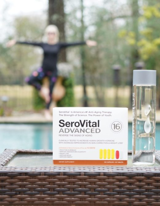 box of Serovital Advanced supplements on table by swimming pool
