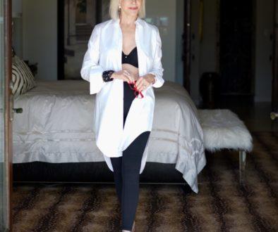 Long white shirt over black bra by Soma Intimates & black leggings in master bedroom