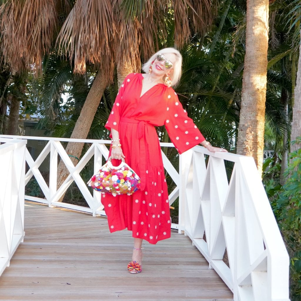 mumu, kaftan, dress, midi dress, red dress with small embroidered flowers