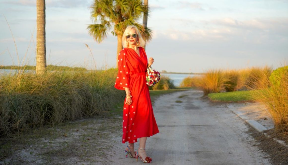 mumu, kaftan, dress, midi dress, red dress with small embroidered flowers