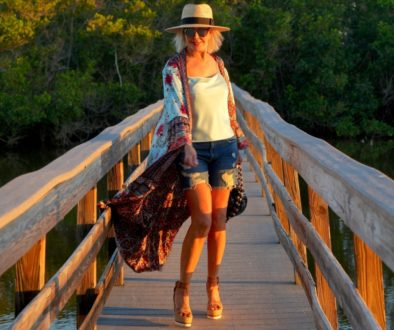 blue camisole, denim shorts wit hat with espadrilles