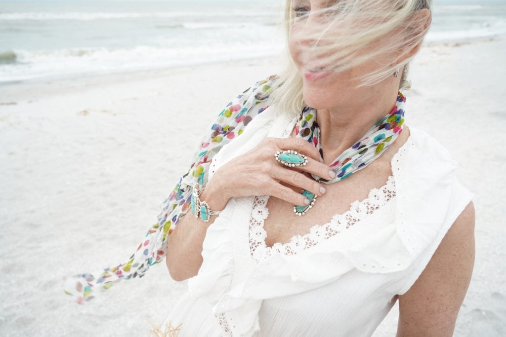 beach-sand-white dress- ruffle maxi dress-large straw hat- green straw palm tote bag-flowy scarf