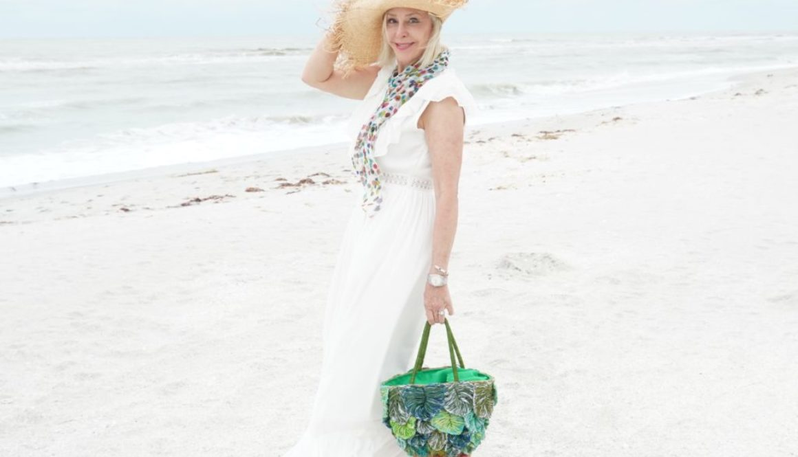 beach-sand-white dress- ruffle maxi dress-large straw hat- green straw palm tote bag-flowy scarf