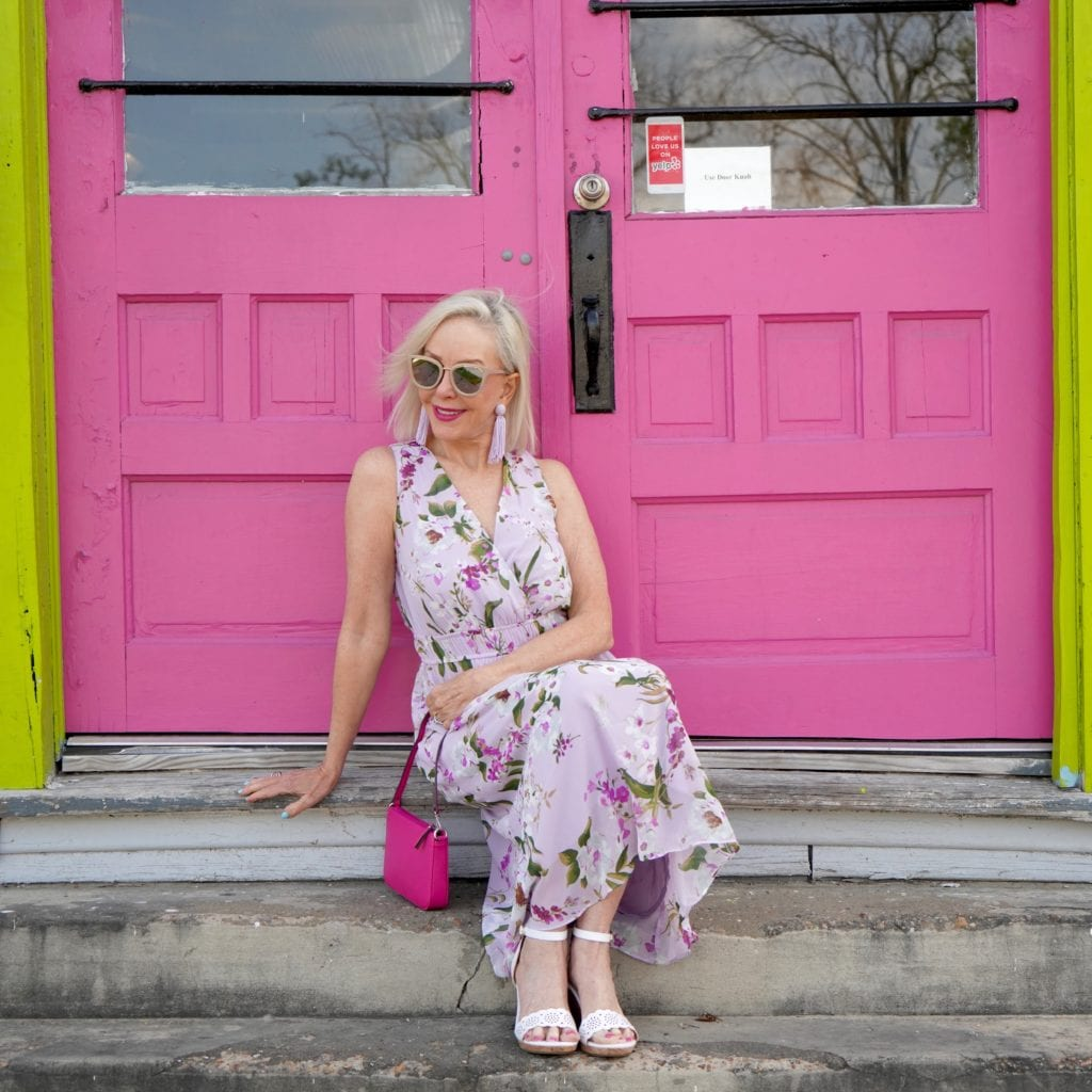lavender floral midid dress, spring floral dress, JCPenney dresses