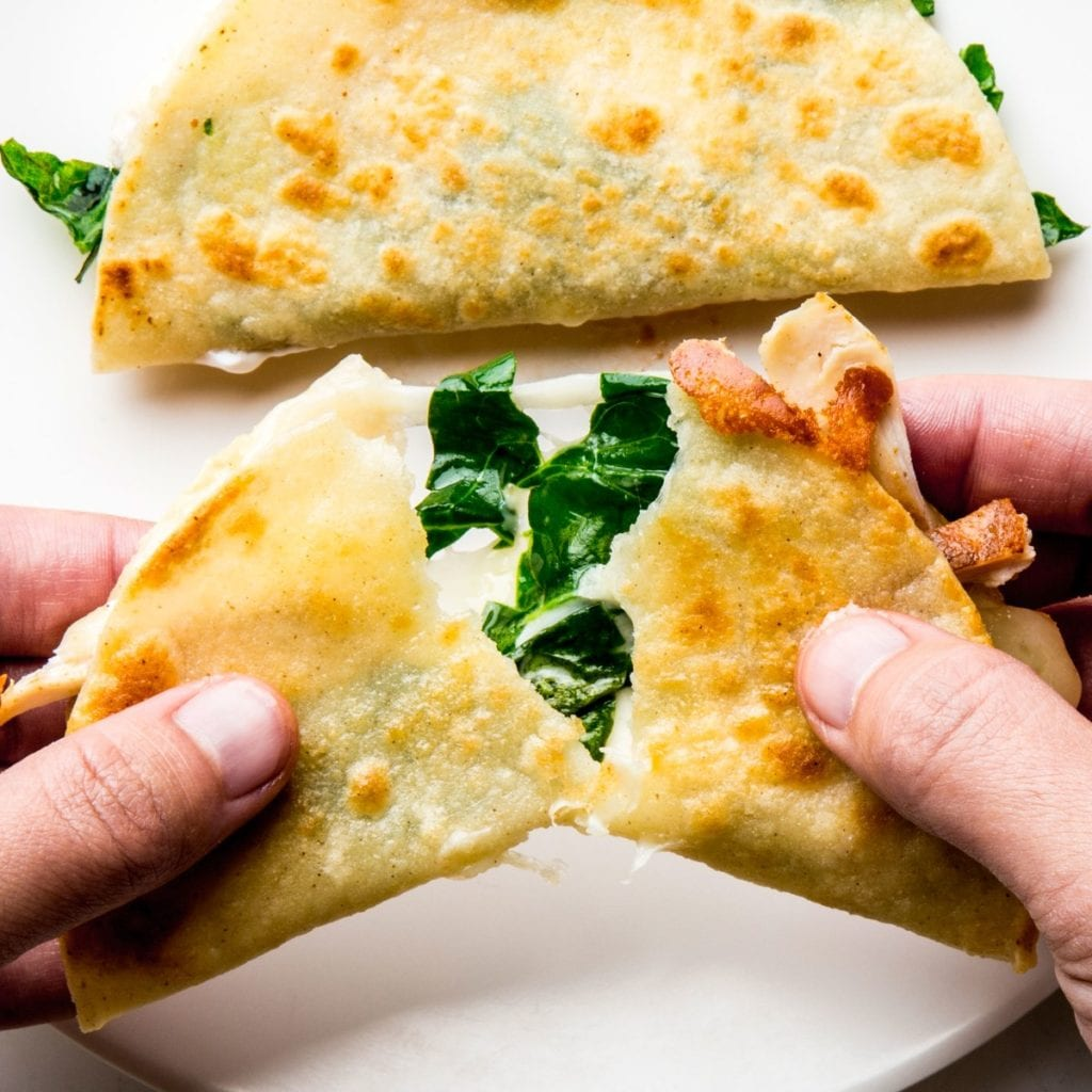 cheese=chicken-greens-quesadilla