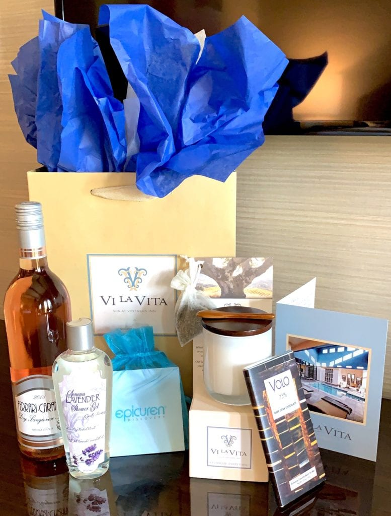 swag bag- spa products, snacks- bottle of wine