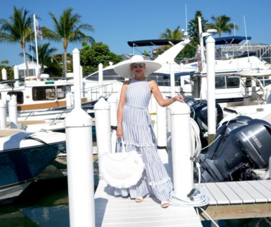 summer maxi dress, marina, boardwalk, big white hat. white yacht, large white tote bag