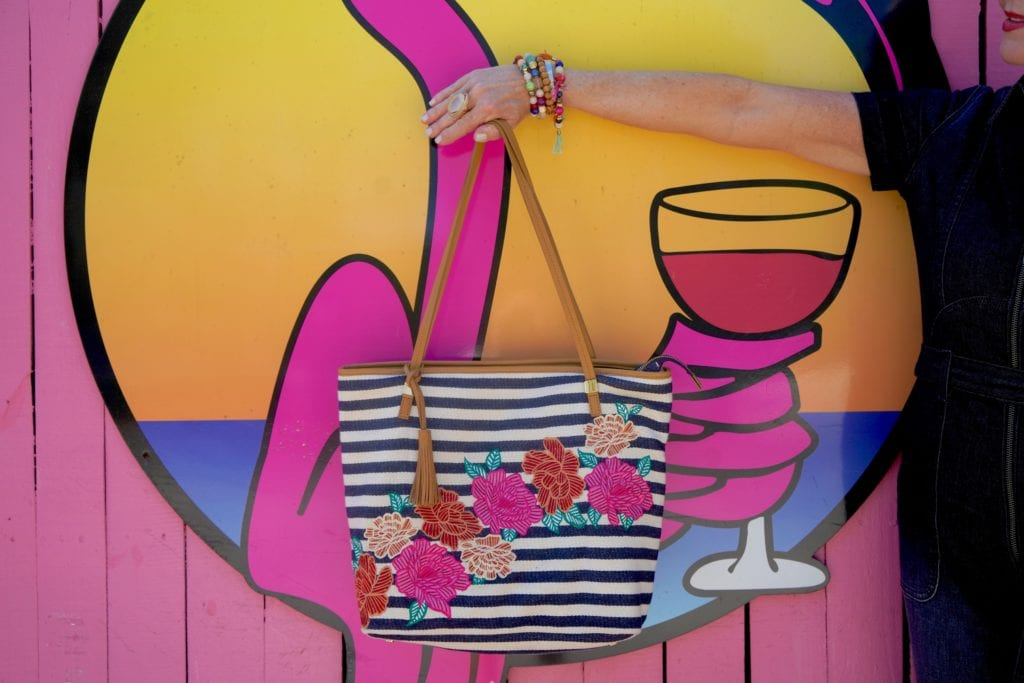 stipe & floral tote bag, pink wall, Flamingo wall, beaded bracelets