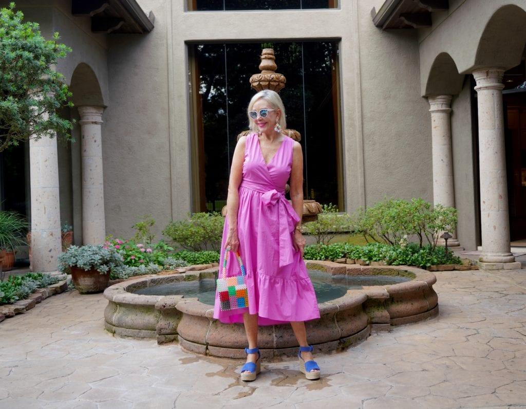 fuchsia wrap dress with tie waist
