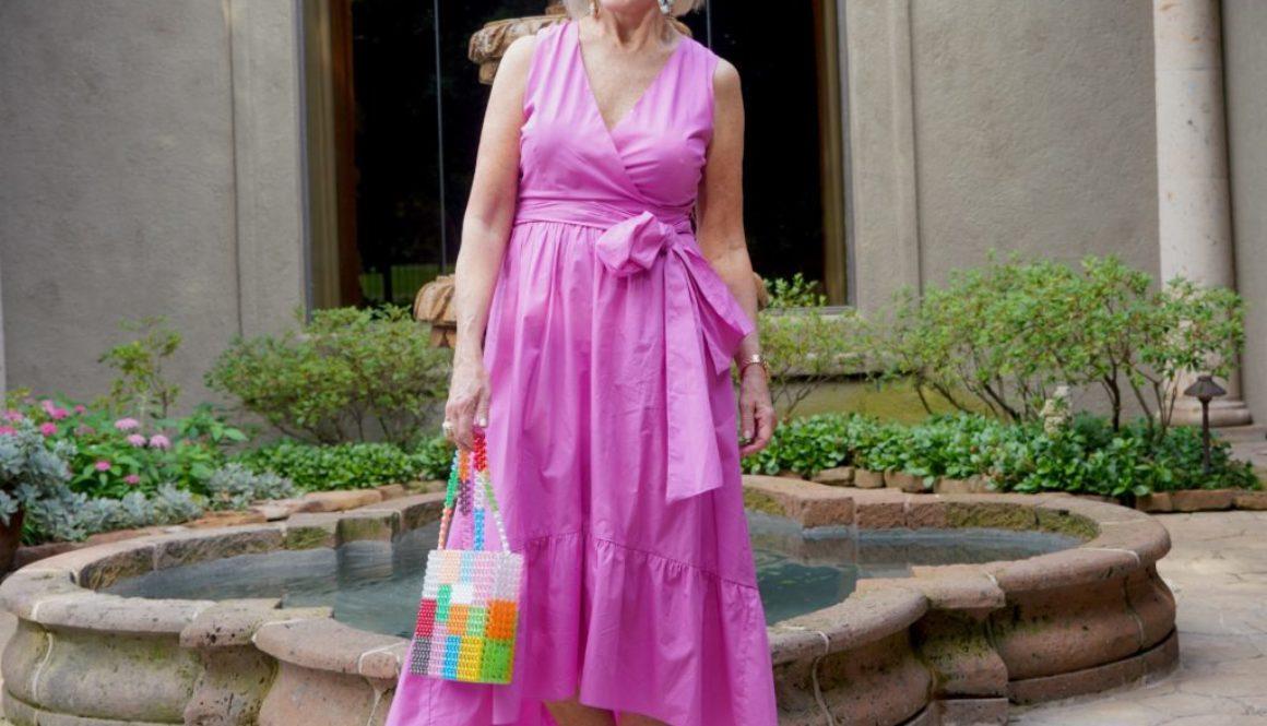 Sheree Frede of the SheShe Show fuchsia wrap dress with tie waist
