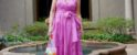 Sheree Frede of the SheShe Show fuchsia wrap dress with tie waist