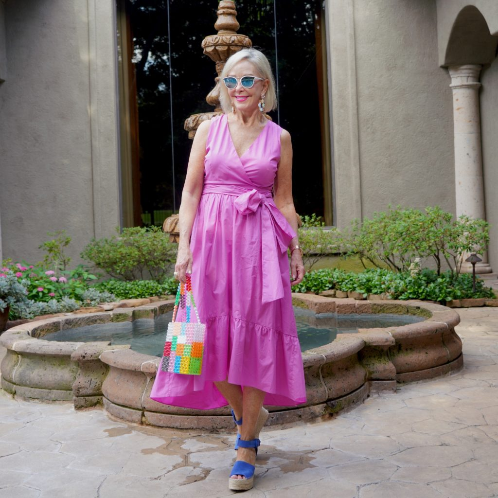 fuchsia wrap dress with tie waist