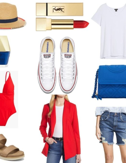 Memorial Day Outfit, Red Swimsuit, Converse, White T, Sandals, Shorts, Outfit Inspiration