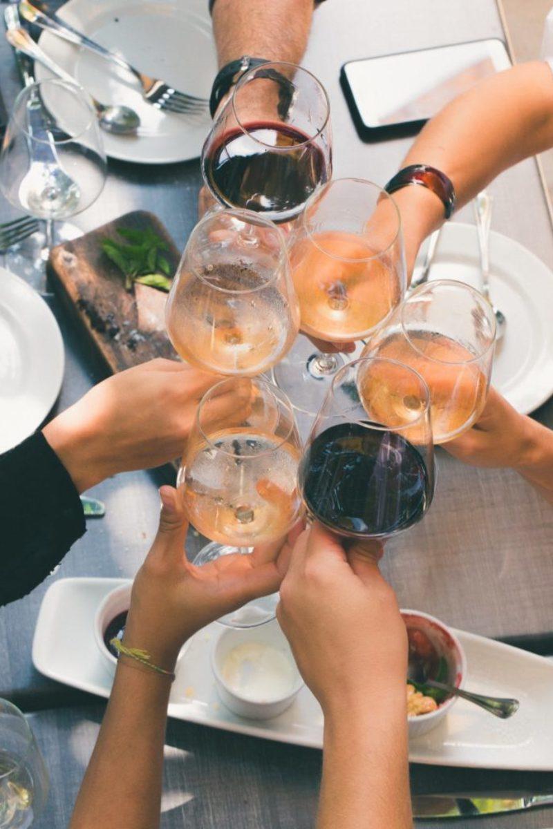 toasting in wine glasses