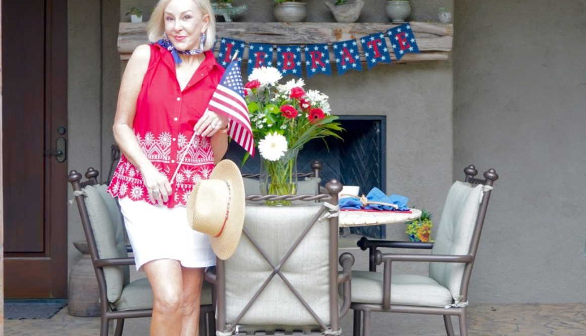 Sheree Frede of the SheShe Show wearing red top and white skort entertaining on the 4th of July