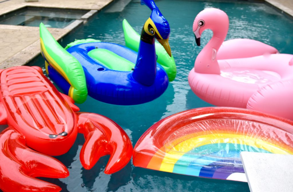 pool floats in swimming pool