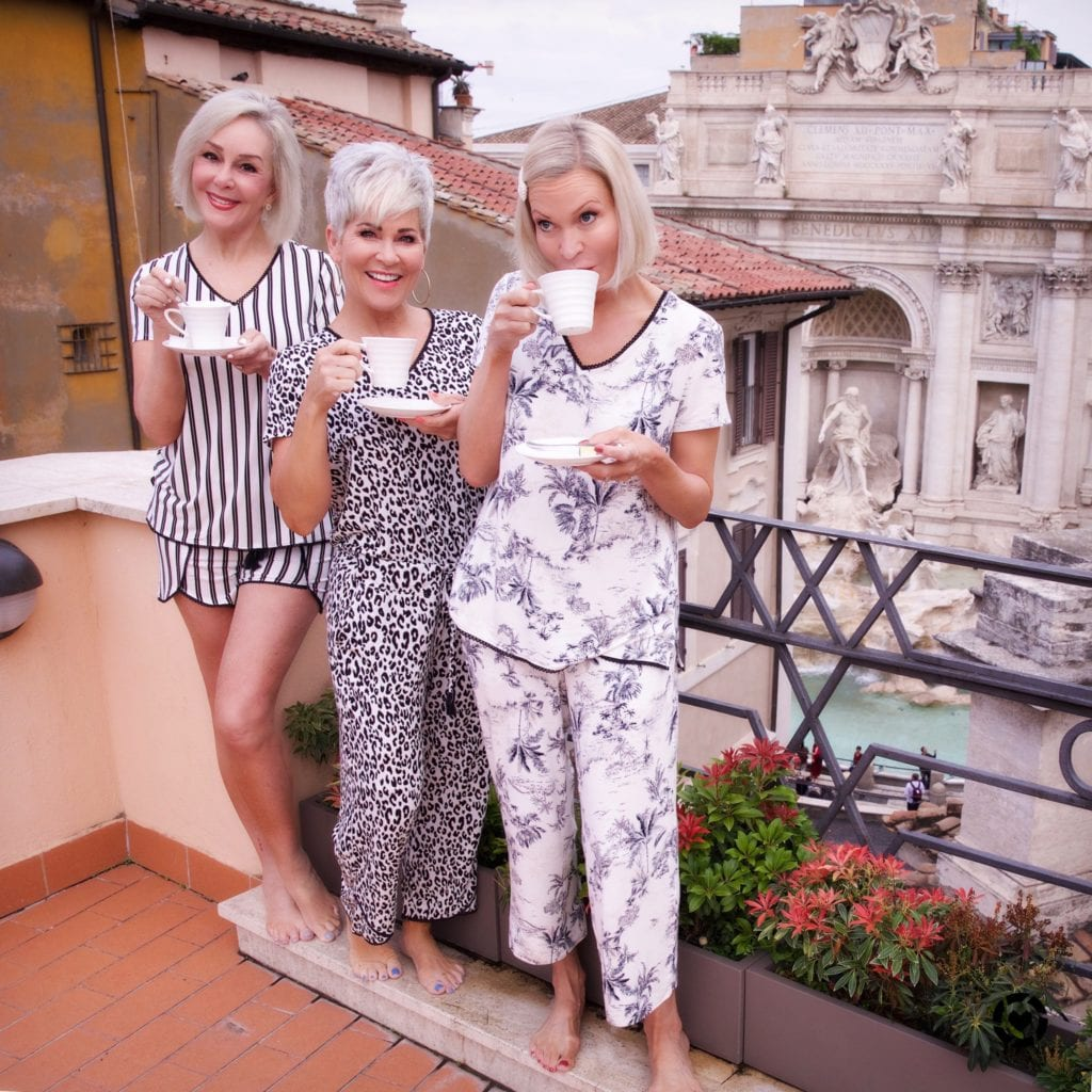 Rockin the Ages wearing Soma Intimates pj's on rooftop Rome, Italy