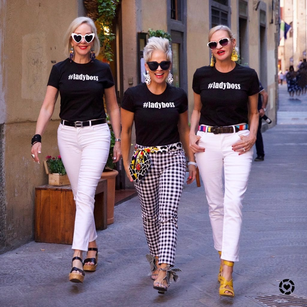 SheShe, Shauna and Jamie wearing #ladyboss t-shirts in Forence, Italy
