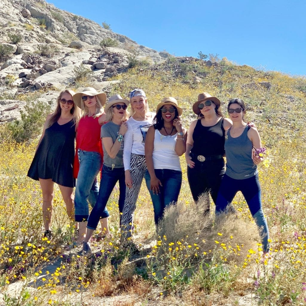 5 ladies posing together on a hillside