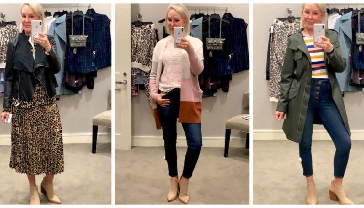 Sheree of the SheShe Show trying on clothes in dressing room at Nordstrom