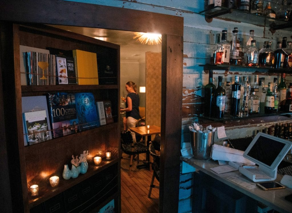 hidden bar behind library door