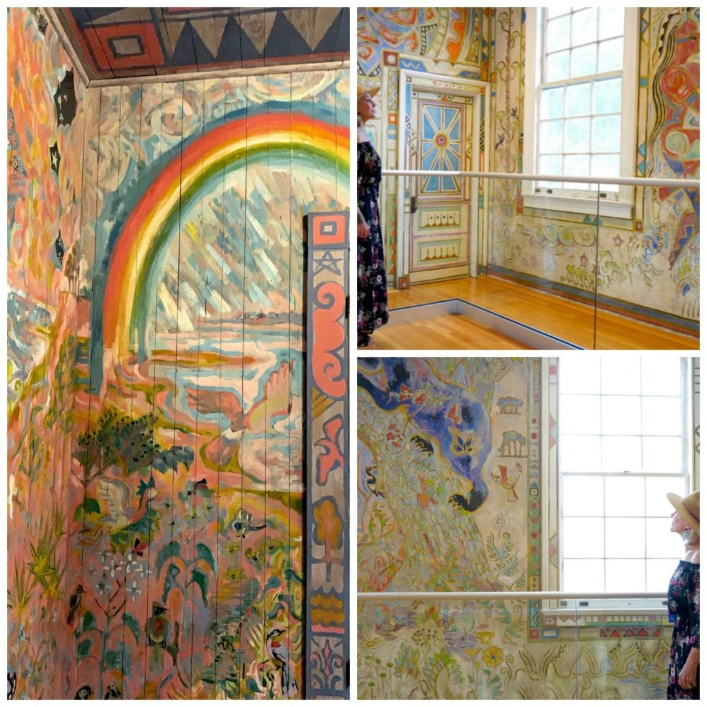 Walter Anderson's Little Room and community room that he painted entire walls of birds, rainbow, butterflies