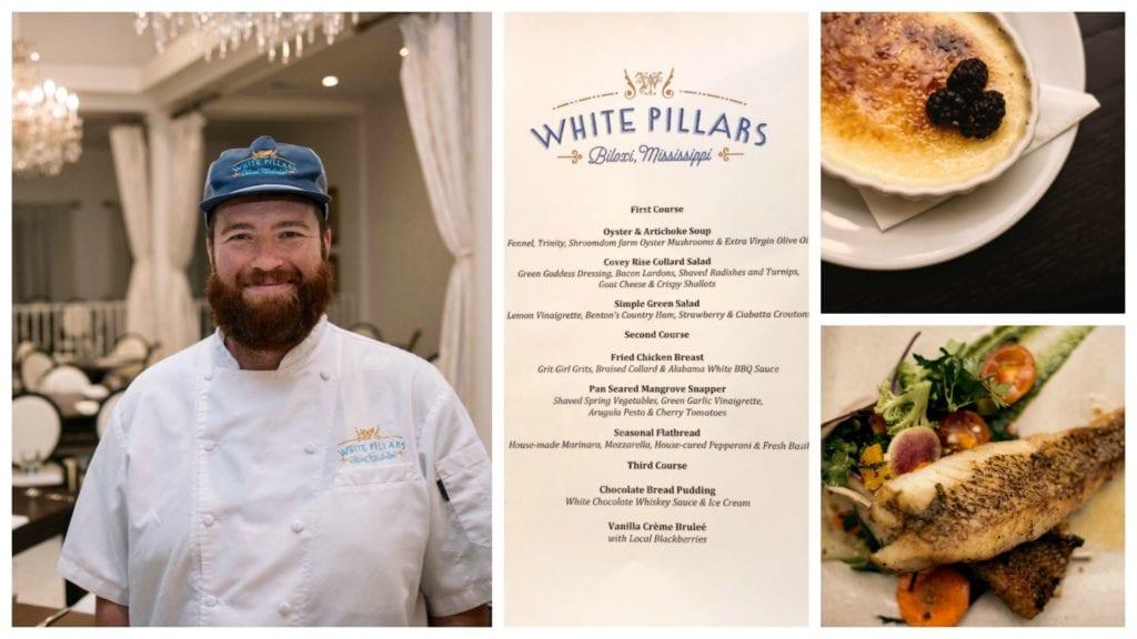 Chef Austin, White Pillars Restaurant, menu,