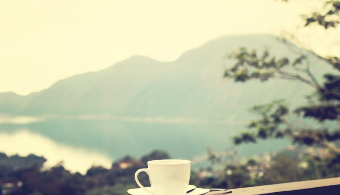 coffee cup mountains, lake
