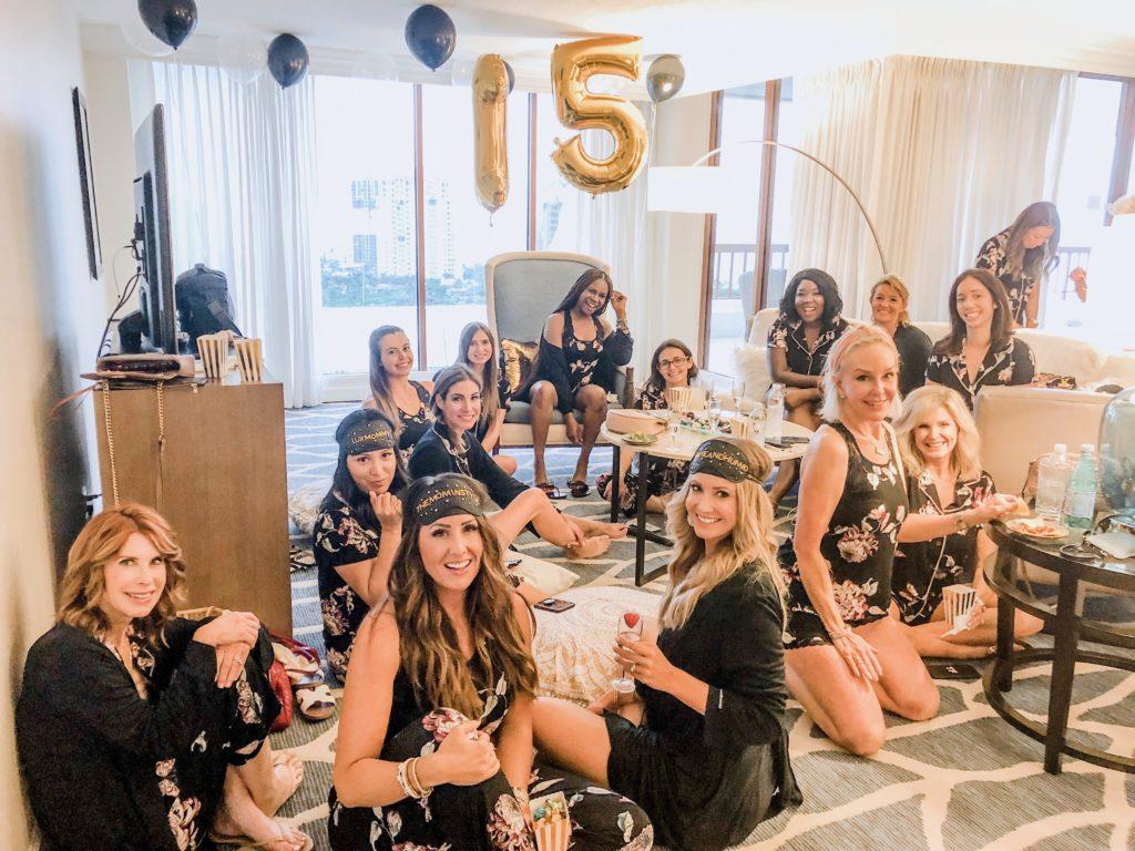 15 influencers wearing Soma pajamas celebrating