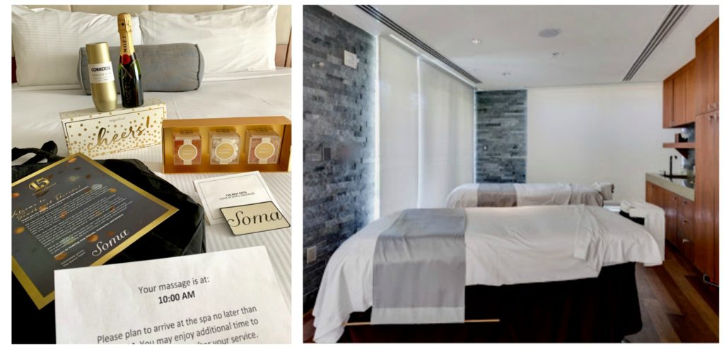 Some gifts on bed and Naples Grande Spa