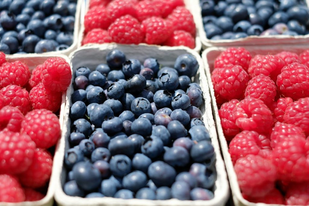blue berries, rasberries