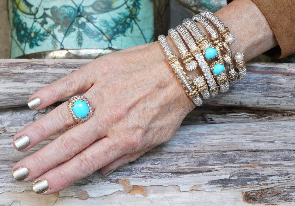 Sheree of the SheShe Show wear Vahan fine jewelry, bracelets, turquoise ring, stacked silver, bold, diamond bracelets