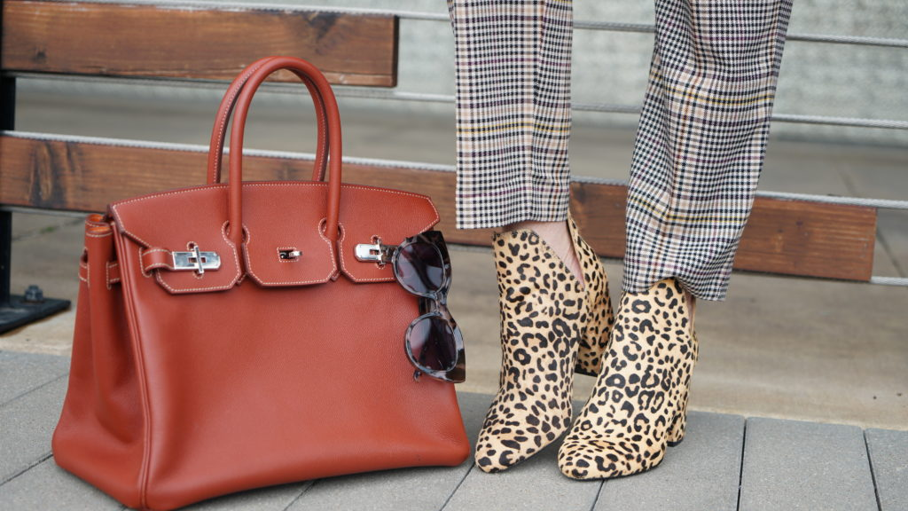 Leopard booties & rust colored Hermes bag